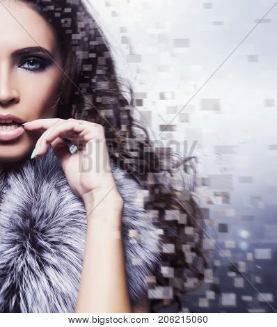 Half face of young and healthy girl. Young and beautiful woman (plastic surgery, beauty medicine, cosmetics and visage mosaic concept). Digital background.