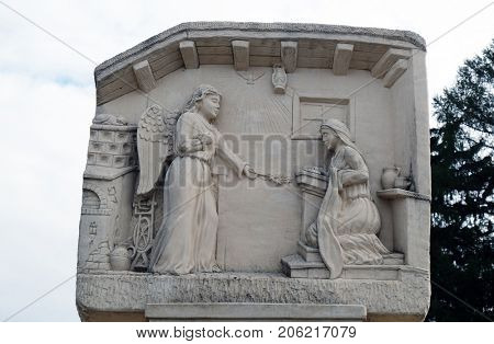 KLENOVNIK, CROATIA - OCTOBER 08: The Annunciation of the Virgin Mary, Mary's Way in Klenovnik, Croatia on October 08, 2016.