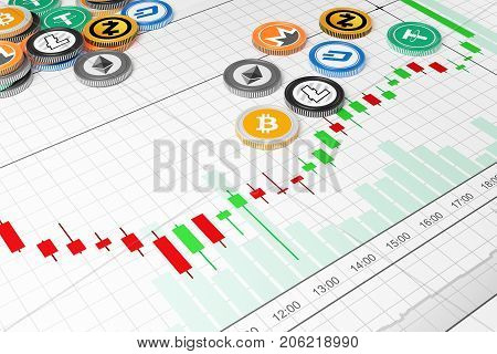Cryptocurrency exchange trades. Trading schedule. 3D illustration.