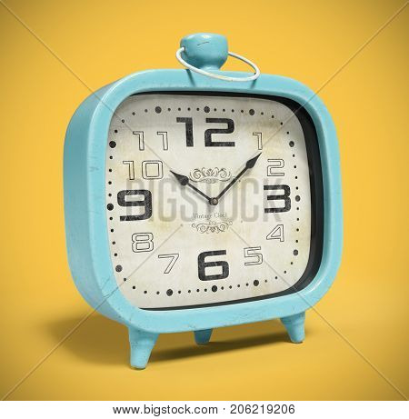 Retro alarm clock isolated on yellow background 3D rendering