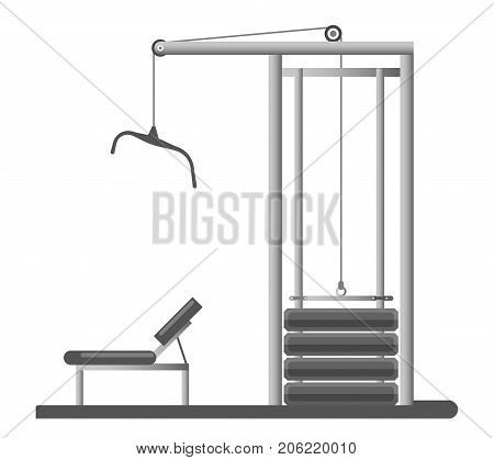Gym equipment or trainer machine with bench and weight dumbbells or kettle bells for chest and back pull training. Vector isolated icon for gym fitness sport club bodybuilding and powerlifting