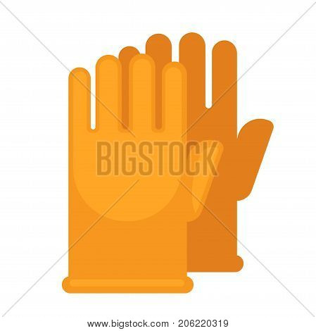 Yellow rubber gloves for safe cleaning with chemical means isolated cartoon flat vector illustration on white background. Simple equipment for hands security from cleaners contact with skin.