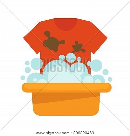 Dirty T-shirt and plastic basin with foam and bubbles isolated cartoon flat vector illustration on white background. Clothes with big brown stains and small container with soapy water to wash up.