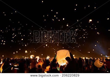 Pocano, PA - SEPTEMBER 9, 2017: Over 10,000 of people flying the lantern to the sky on Lantern Festival. Creating a starry lantern galaxy.