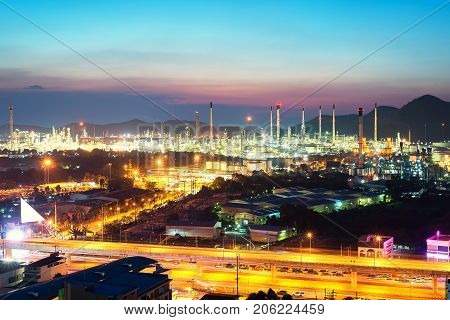 Beautiful scenery during time the twilight view from top of oil refinery industry. Oil refinery industry at Chonburi province in Thailand. Landscape of industry estate in Thailand. Industry concept