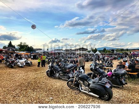 FAAKER SEE, AUSTRIA - SEPTEMBER 9: Custom motorcycles are shown at 20th European Bike Week on September 9, 2017 in Faaker See, Austria. The event is billed as the largest European motorcycle event.