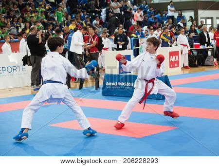 Buenos Aires, Argentina - July 23, 2017: XXVIII Panamerican Championship of Junior Karate Cadets and U21 Buenos Aires, Argentina