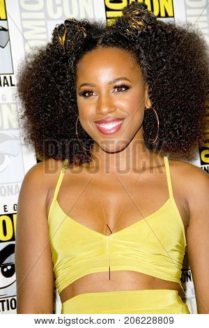 Ashanti Bromfield arrives at the 2017 Comic Con press room at the Hilton San Diego Bayfront hotel on July 22, 2017 in San Diego, CA.