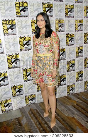 Camila Mendes arrives at the 2017 Comic Con press room at the Hilton San Diego Bayfront hotel on July 22, 2017 in San Diego, CA.