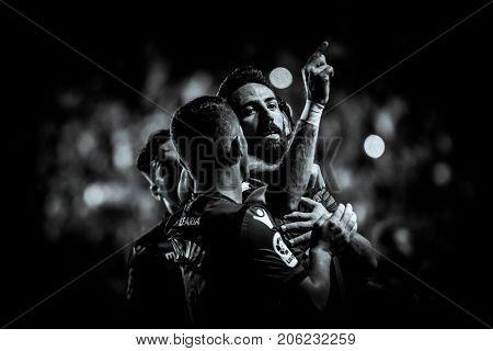 VALENCIA, SPAIN - SEPTEMBER 21: (C) Morales celebrates a goal during Spanish La Liga match between Levante UD and Real Sociedad at Ciudad de Valencia Stadium on September 21, 2017 in Valencia, Spain