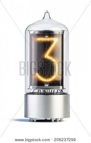 Nixie tube indicator isolated on white - set of decimal digits. Number 3. 3d rendering