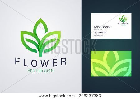 Flower logo template and business card template. Outline style logo with leaf sign and overlapping, origami effect and green gradients. Can be uses for green, ecological, healthy food company. Vector illustration for print or web.