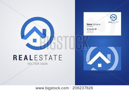 Real estate logo and business card template. Outline style house sign with overlapping shadow effects. Vector illustration for print or web