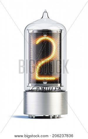 Nixie tube indicator isolated on white - set of decimal digits. Number 2. 3d rendering