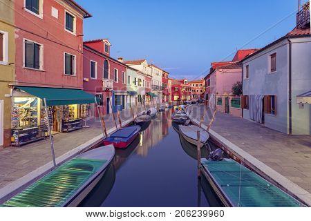 Burano Island At Twillight, Venetian Lagoon, Italy