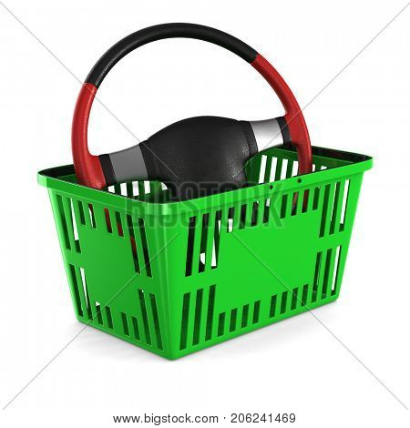 Purchase car. Steering wheel into shopping basket on white background. Isolated 3d illustration