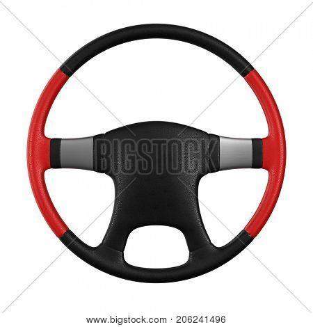 Steering wheel on white background. Isolated 3D illustration