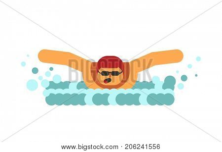 Young swimmer breathes in air before submerging in water isolated