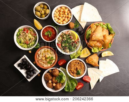 assorted lebanese mezze