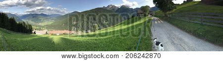 Panorama of a landscape in the Italian Dolomite Alps
