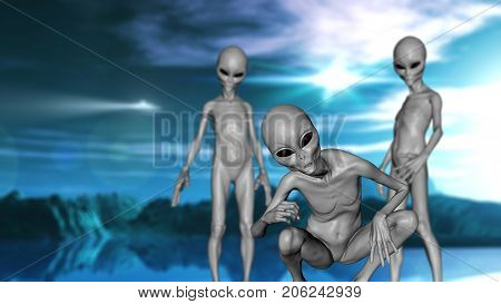 3D render of a science fiction landscape with grey alien creatures
