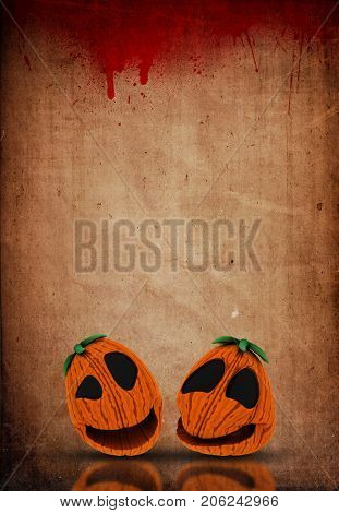3D render of a Halloween Jack o lanterns on a grunge blood splattered paper background