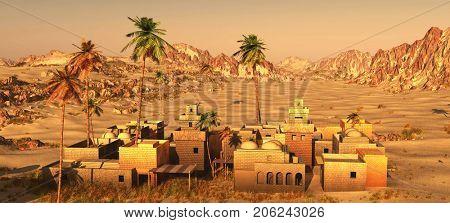 Arabic community on desert, 3d rendering