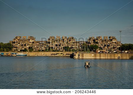 MONTREAL, CANADA - SEPT 14, 2017:  Habitat 67 is a housing complex in Montreal of 354 identical, prefabricated concrete forms arranged in various combinations, reaching up to 12 stories in height
