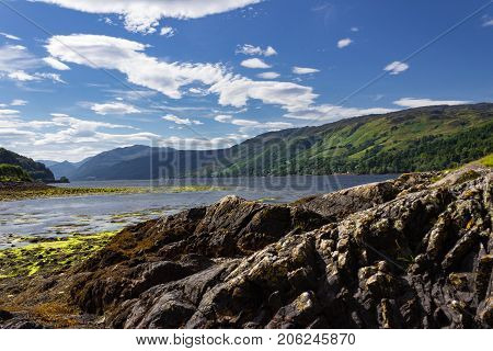 Gorgeous landscape of where the three sea loch's mean near Dornie and Eilean Donan Castle
