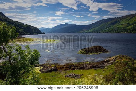 Pristine view of the landscape around Dornie and the Eilean Donan Castle region in the Scottish Highlands.