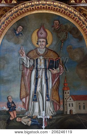 VUKOVOJ, CROATIA - OCTOBER 08: Saint Wolfgang, altarpiece in the chapel of St. Wolfgang in Vukovoj, Croatia on October 08, 2016.