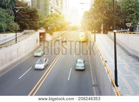 Urban motorway tunnel entrance
