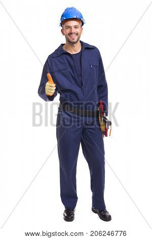 Happy smiling worker thumbs up on a white background