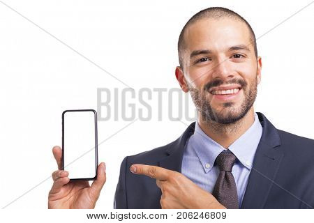 Businessman holding blank mobile smart phone isolated on white background