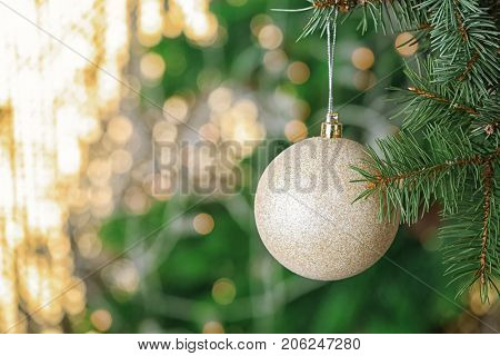 Brunch of fir tree with Christmas ball on blurred background