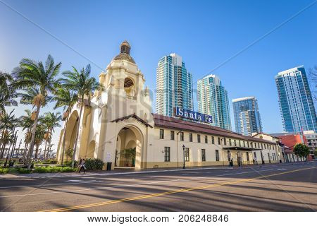 SAN DIEGO, CALIFORNIA - FEBRUARY 26, 2016: Santa Fe Depot in downtown San Diego. The building dates from 1915.