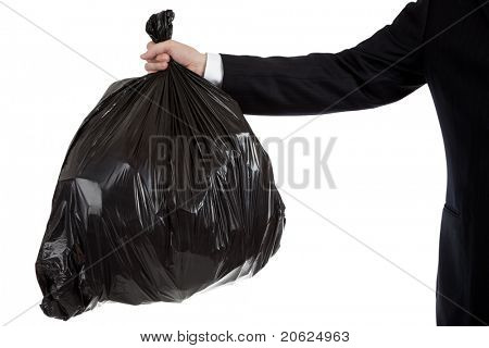 A business man's or bankers arm holding a black bag of trash - bad debt theme, bad investments, bad business