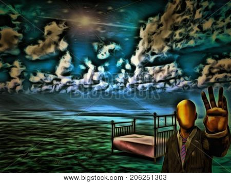 Surreal painting. Faceless man warns us. Empty bed in the sky.