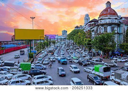Traffic jam in Yangon Myanmar at twilight