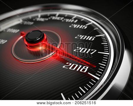 2018 year car speedometer concept. 3d rendering