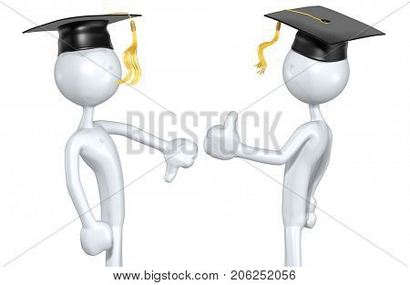Thumbs Down Thumbs Up The Original 3D Graduate Characters Illustration