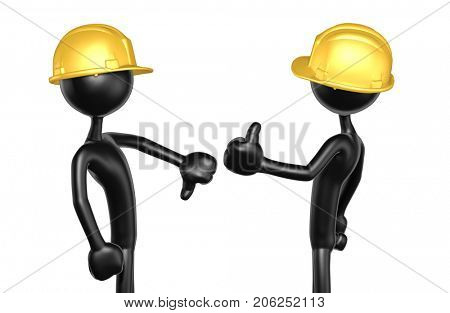Thumbs Down Thumbs Up The Original 3D Construction Worker Characters Illustration