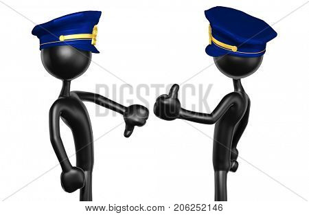 Thumbs Down Thumbs Up The Original 3D Police Officer Characters Illustration