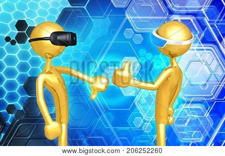 Thumbs Down Thumbs Up The Original 3D Characters Illustration Wearing Virtual Reality Headset And A Augmented Reality Headset