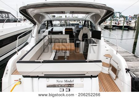 NORWALK, USA - SEPTEMBER 21, 2017:  Leader 33 view from Jeanneau exhibit in Norwalk Boat Show 2017