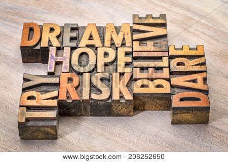 dream, hope, believe, dare, risk and try - inspirational word abstract in vintage letterpress wood type printing blocks