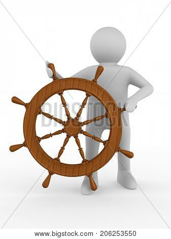 sea captain with steering wheel on white background. Isolated 3D illustration