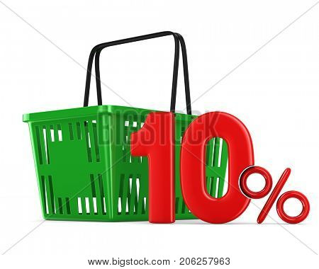 Green empty shopping basket and ten percent on white background. Isolated 3d illustration