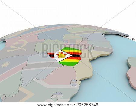Political Map Of Zimbabwe On Globe With Flag