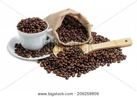 Coffee beans in jute sack  and  cup isolated on white background